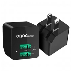 CRDC 5V2.4A Mini Dual USB Charger Portable Travel Wall Phone Charger Adapter US Plug