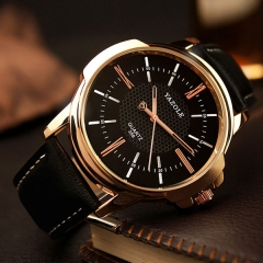 Rose Gold Wrist Watch Men  Clock Quartz Watch Golden Wristwatch Quartz-watch black+black