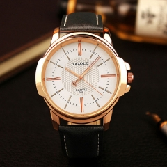 Rose Gold Wrist Watch Men  Clock Quartz Watch Golden Wristwatch Quartz-watch black+white
