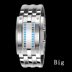 Lovers' Wristwatch Men Women Steel blue Binary Luminous LED Electronic Sport Watches Smart Watch silvery