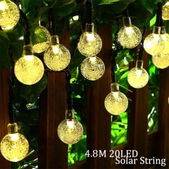 Solar Lamp 4.8M 20LEDs Crystal Ball Waterproof Outdoor solar led string