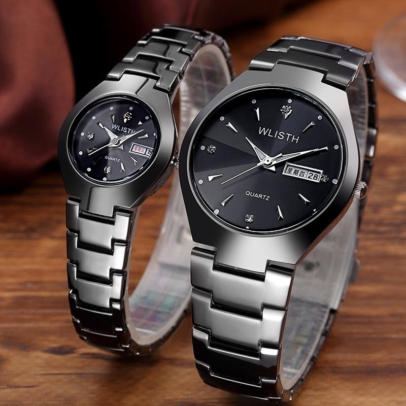 Lovers Watch Men Women Date Clock Luxury Quartz Wrist Watches Female Male Quartz Watch Black For Women
