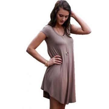 Irregular Cutting Loose Short Dress For Women coffee 3xl=us12