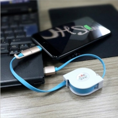 DoubleBetter Retractable 2 in 1 Multiple USB Charging&Data Cable for Android and iPhone blue android&iphone 1m