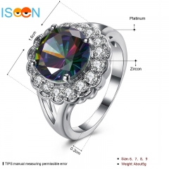 ISEEN brand Zircon Ring Women Delicate Rings for Girls Fashion Jewelry silver 6