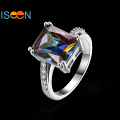 ISEEN Brand Zirconia ring for Beautiful Lady Wedding and anniversary Romantic Experience silver 6
