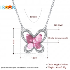 ISEEN Brand S925 Sterling Silver necklace with crystal butterfly shape from swarovski Pink as picture