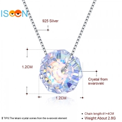 ISEEN Brand S925 Sterling Silver necklace with Crystal Pendant for elegant and graceful woman silver 1.2cm*1.2cm