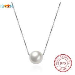 ISEEN Brand S925 Sterling Silver necklace with White Pearl Pendant Anniversary Gifts for Women silver chain Length:40cm
