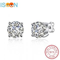 ISEEN Brand S925 Sterling Silver with Zirconia Diamond Stud Earrings for Beauty Lady silver 8mm*8mm