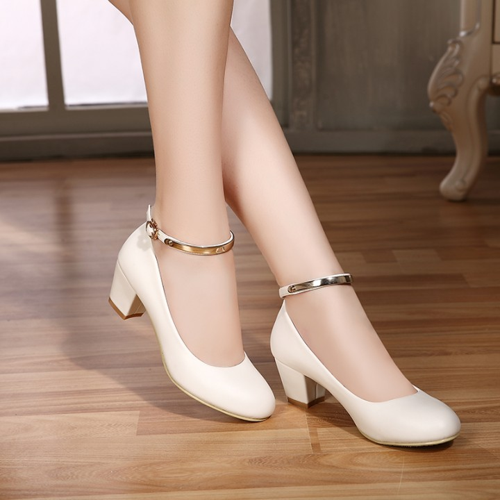 buying new more photos best shoes New Women's High Heels Pumps Sexy Bride Party Thick Heel Round Toe leather  High Heel Shoes color 2 35