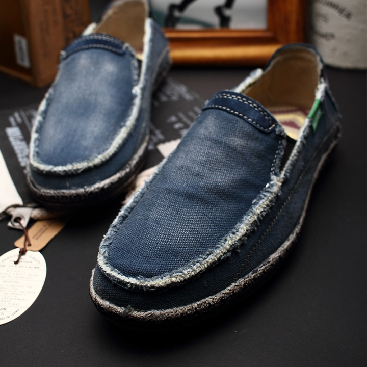 8d73f662a31 New Mens Breathable High Quality Casual Shoes Jeans Canvas Slip On men  Fashion Flats Loafer color