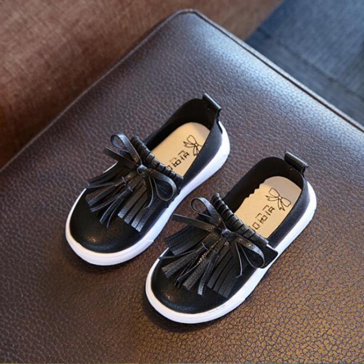 Kids Shoes Spring Girls Leather Shoes Princess Tassel Flats Children