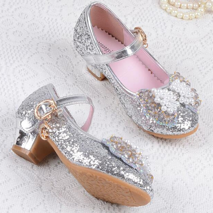 Spring Summer Girl High Heels Crystal Princess Party Children Shoes Pearl  Leatherette Footwear color 4 26 c4dbac6fb127