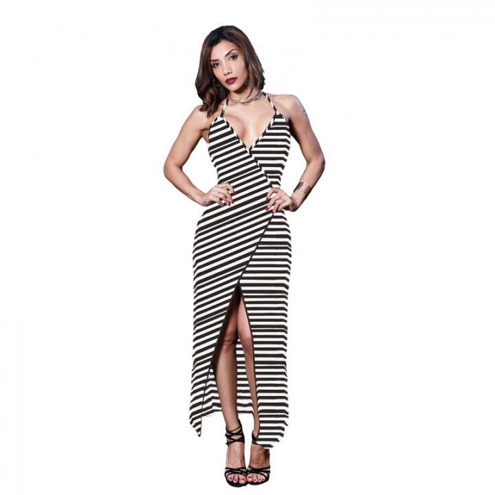 0ef188d9a6 Beauty Garden Summer Women Beach Backless Sexy Dress Ladies Sleeveless  Striped Split Maxi Dress coffee l