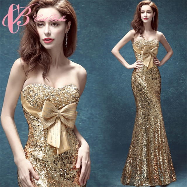 Christmas Evening Dresses.Mermaid Floor Length Celebrity Evening Dresses With Big Bow Christmas Formal Party Gown Cestbella Golden 6