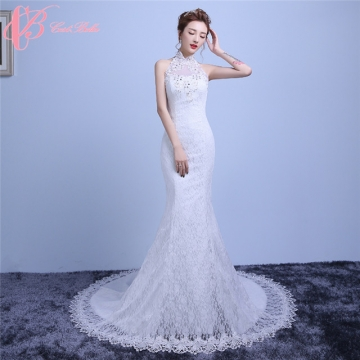 plain high neck hot sale mermaid malaysia luxury wedding dress
