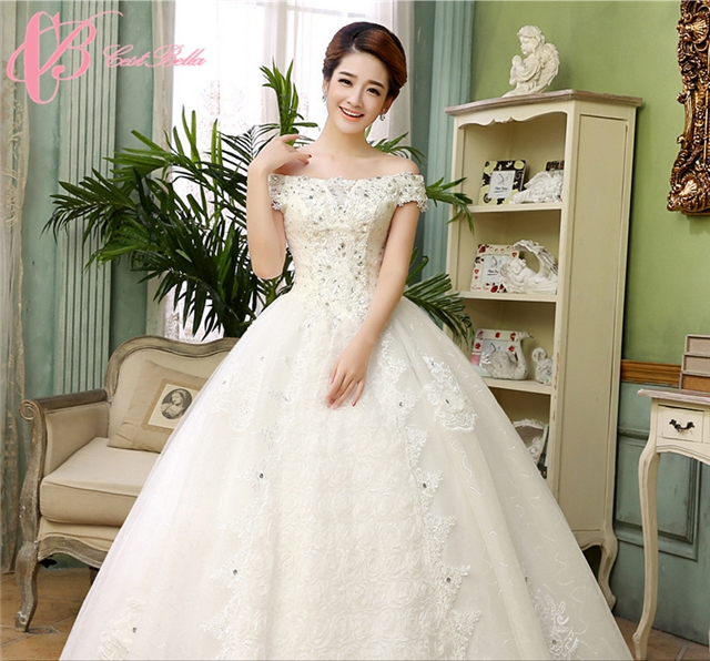 Wholesale White Bridal Off-shoulder Lace Wedding Dress Ball Gown ...