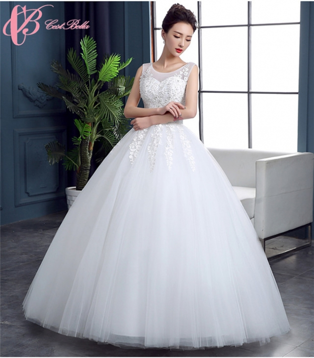 Wholesales Sleeveless Simple Style Lace Appliques Backless Ball Gown ...