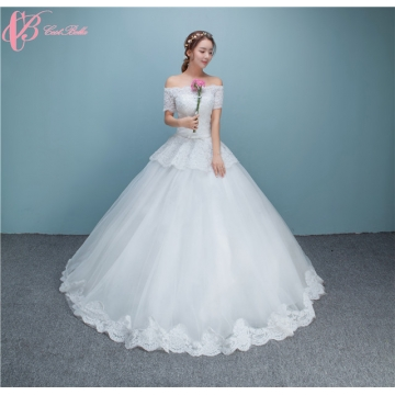 Off-shoulder Pearl Beads Sequins Appliqued Wedding Dress Cestbella ...