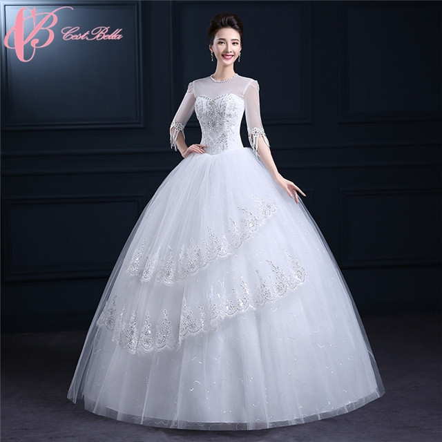 Graceful Tulle Long Sleeve Sequins Crystal Layered Embroidery Ball ...