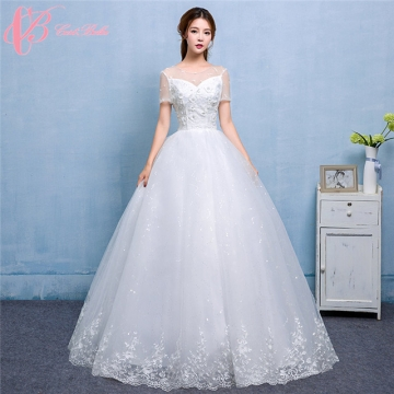 Hot Sale Sweetheart Tulle Short Sleeve Ball Gown Wedding Dress ...
