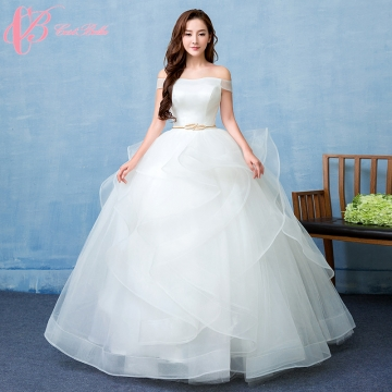 Pure White Off Shoulder Simple Angel Style Ball Gown Wedding Dress ...