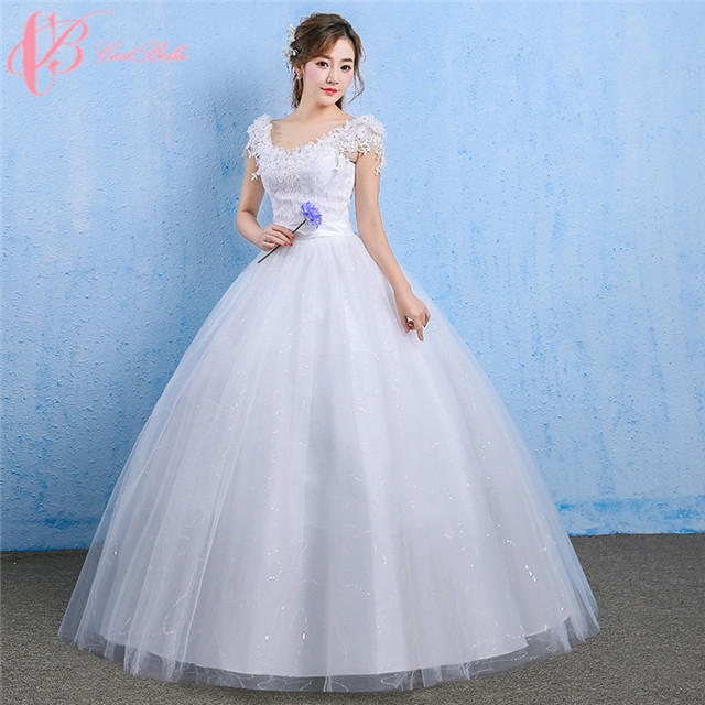 Cap sleeve backless puffy ball gown lace appliques wedding dress ...