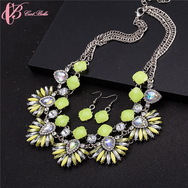Beauty Good Quality Multicolor Rhinestone Crystal Statement Necklace Set Cestbella argent normal