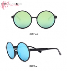 (Green, Orange, Pink in Stock) Trendy Vogue Multi-color Round Frame Sweetheart Sunglasses Gift green lenses normal size