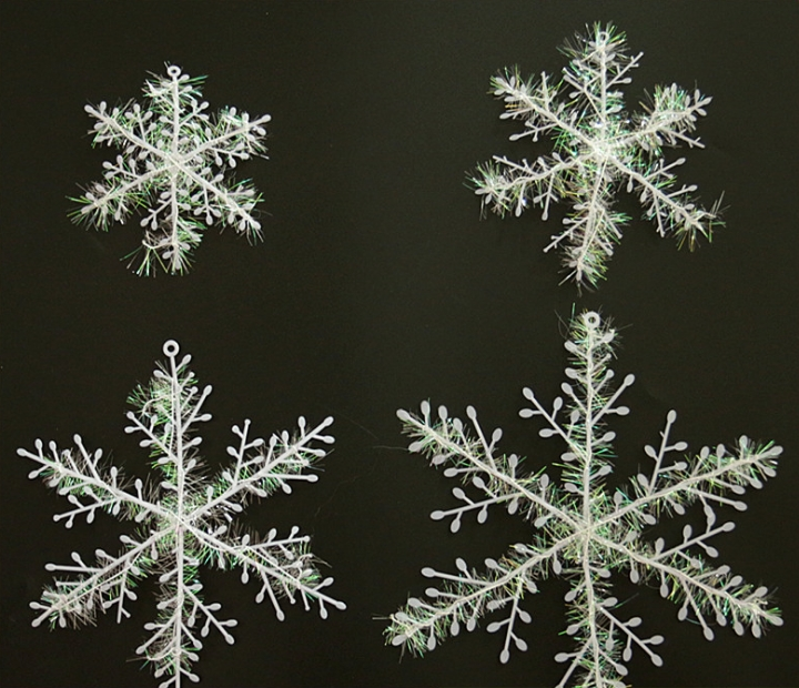 11CM Snowflakes Window Clings women's day Decoration Xmas Party Stickers Ornament (3 Pcs a Pack) white normal normal