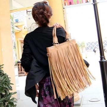 Women's day gift High Compacity Leather Bucket Bag Crossbody Women Handbag khaki normal