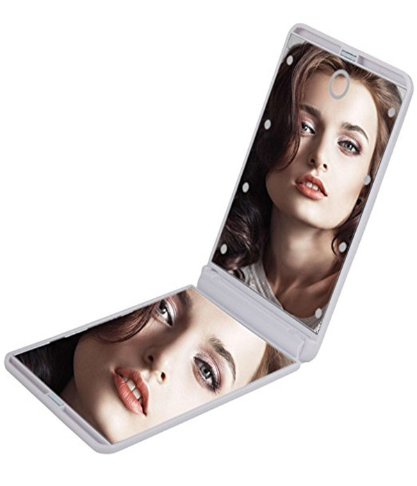 Women's day gift Folding Travel Office Makeup Mirror 8 LED Adjustable Bright