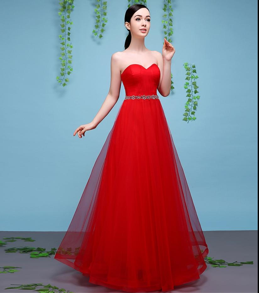 Cestbella Elegant Illusion Lace Appliqued Bridesmaid Dress red us ...