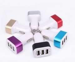 Color circle square three USB car charger 5V1A universal mobile phone charger