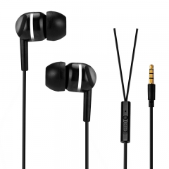 Mobile phone General Headset Ear Style General Headset  Wire Control With Microphone Earplugs black