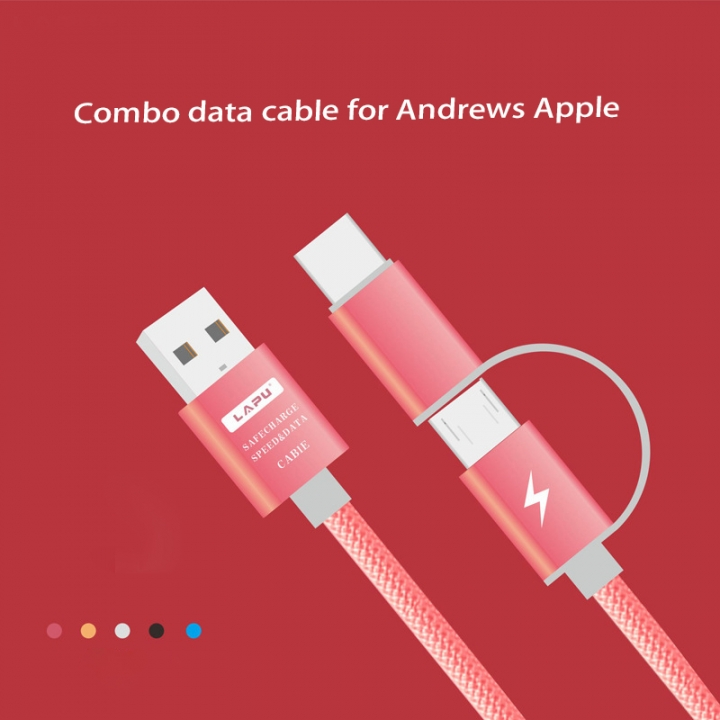 Combo Data lines Apply to apple   Andrews 1 drag 2 Nylon Weave Mobile phone Charging Cable black one size no