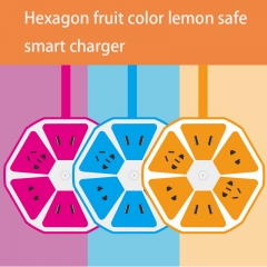 Creative USB Versatile Colorful Mobile Phone Row Hexagonal Safety intelligent USB Charger random color one size