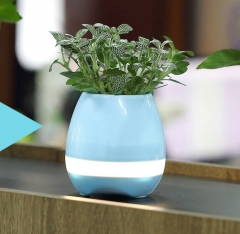 Intelligent Bluetooth Speaker Touch Induction Green Plant Music Potted Plants Flower pot blue one size