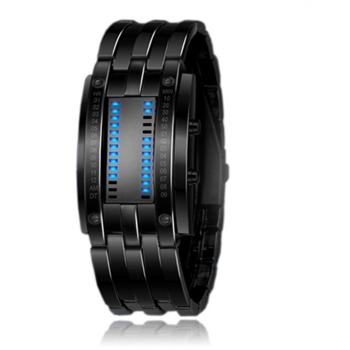 Waterproof led Tungsten Steel table trend Fashion Men and Women Student Cool alloy Digital Watch black (Men)