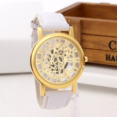 Fashion Non-mechanical Hollow Table Men Business Leisure Gold face gear Quartz Watches white gold  belt