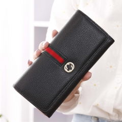 Female Long Section Wallet Simple Litchi Pattern Three Fold Pumping Belt Ms Wallet Wallet black one size