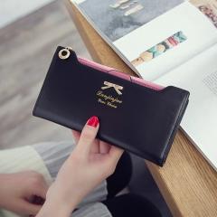 Fashion Female Wallet lovely Bow Tie Card Type Multi-card Bit Package Ms Long Section Wallet black one size