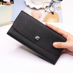 Female Student Simple Long Section Thin Section Wallet Buckle Fashion Coin Purse Hand Bag black one size