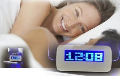 Blue New LED Luminous Message Board Digital Alarm Clock With Calendar Night light Green light one size 1.5w