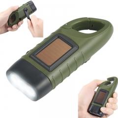 Outdoor Camping on Foot Led Flashlight Dynamo Solar Energy Charge Flashlight green 12*45*32mm 3.6w