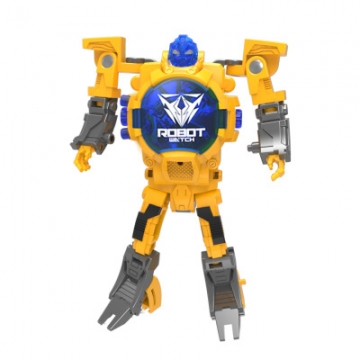 Deformation Watch Cover toy Child Watch Cartoon Transformers Electronic Watch yellow one size