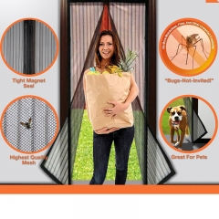 NEW Magic Curtain Door Mesh Magnetic Fastening Hands Free Insect Screen Net Mosquito Curtains black one size