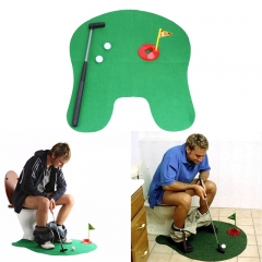 Bathroom Toilet Golf Set - Potty Putter Mini Bathroom Putter Practice Gift Set green one size