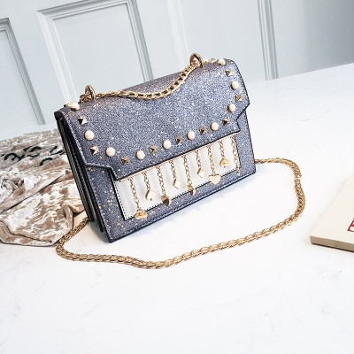 fd36274ef85 Western Style Ms Creativity Sequins Chain Shoulder Bags trend rivet  Crossbody bag gray one size  Product No  366512. Item specifics  Brand